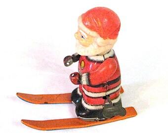 Tin Santa on Ski's Mechanical Wind Up Toy 2 Japan c1950