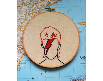 David Bowie, Ziggy Stardust, major tom, hand embroidery, hand stitched, vegan friendly, 1970s, 1980s, bowie, wall decor, living room decor,