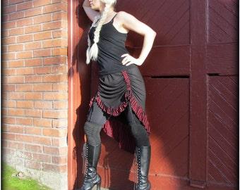 Burning Man festival skirt ~ High Low Hi Lo Skirt ~ Tribal Belly Dance Fusion ~ Black Purple Red Brown ~ Steampunk Ruching Drawstring