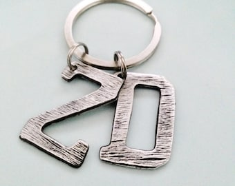 Textured Letter Key Chain, Two Letter | Hand Crafted Pewter Jewelry | Personalized Letter Key Chain | Custom Designed Jewelry |