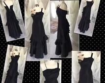 Gorgeous 1940's Black Taffeta Ball Gown w/ruffled bustle back
