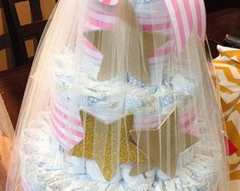 Golden star diaper cake, baby shower gift