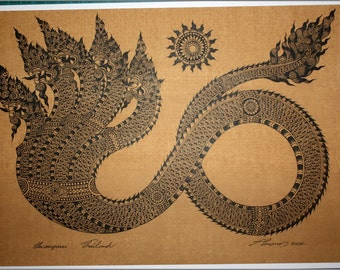 Thai traditional art of Naga by printing on sepia paper