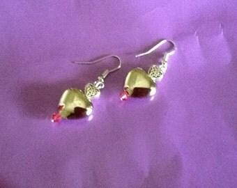Heart earrings with Swarovski crystal beads!