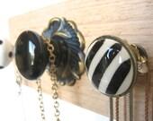 Jewelry Organizer / Five Unique Knobs on Cedar / Black Beauty