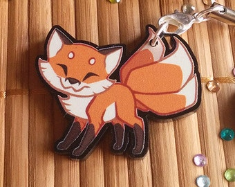 Cute Red Kitsune Fox Acrylic Charms with Phone Strap