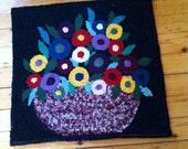Hooked Rug Wool Wall Hanging - 'Flower in Basket'