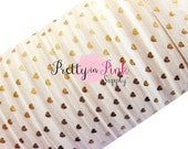 """Ivory with Gold Tiny Hearts Foil Print Elastic- Fold Over Elastic- FOE- Elastic by the Yard- Foldover Elastic- DIY- Valentines Day- 5/8"""""""