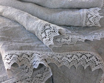 Linen burlap tablecloth natural gray washed table cloth with lace square 80 inch