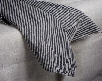 Striped linen towels natural gray black pure linen set of 2 kitchen towels hand towels tea towels in vintage style