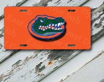 """Orange Florida GATORS Design on 6"""" x 12""""  Aluminum License Plate"""