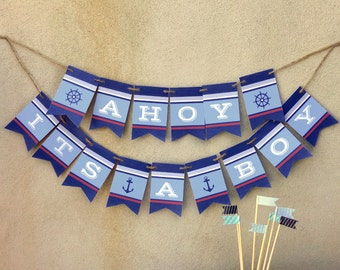 Ahoy It's a Boy: Banner Printable for Baby Shower or Nursery Decor -- Party Bunting Decoration -- Instant Download