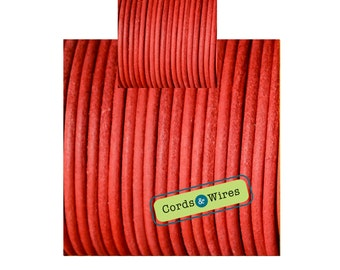 CW03263 Bright Red - 1 meter x 3mm Dyed Coulour Round Leather Cord