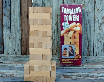Vintage Game Tumbling Tower 54 Wood Pieces