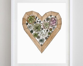 Succulent Love Watercolor Art Print