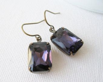 Dark Purple Rhinestone Drop Earrings, Old Hollywood Glam, Vintage Style, Amethyst, Bridal Wedding Jewellery, Statement Earrings.