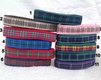 Handmade Scottish Tartan Dog Collar - Various Tartans - 10mm or 12mm Wide