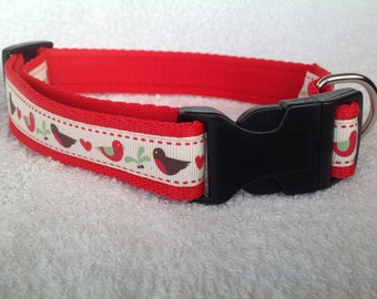 Handmade Christmas Robins on Red Dog Collar - Various Sizes