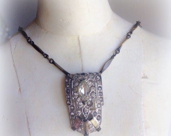 Art Deco Vintage Rhinestone Clip Bar Chain Bride Necklace Jewelry by WinterPearlsDesigns Winter Pearls Designs