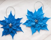 2 Blue Poinsettia Ornaments