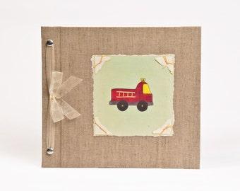 Baby Book - Baby Memory Book - Boy, Fire Engine, Baby Album - Fire Engine Baby Memory Book - Hugs and Kisses XO Baby Memory Book