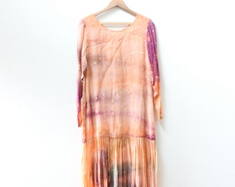 Sunset Chiffon Pleated Drop Waist Dress