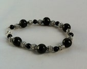 Natural Obsidian and Tibetan Silver Bead Bracelet