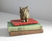 Brass Owl, Brass Figurine, Bird Figurine, Brass Paperweight,  Mid century retro 1960s hollywood regency home gold decor