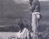 Roland Reed Meditation Native American Black & White Original Photogravure 1918