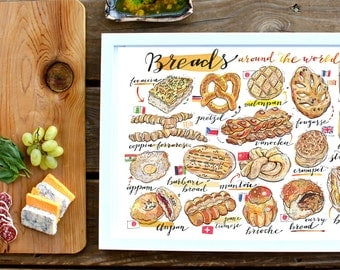 Bread Illustration. Breads of the world print. Food art. Kitchen decor. Bakery. Artisanal. Home decor. Gift for baker. Cultural. Gourmet.