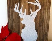 Wood Christmas Sign, Holiday Sign, Deer Head Sign HD-2