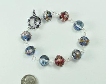 Slate-blue and deep red art glass & crystal bracelet