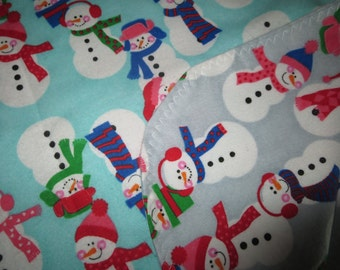Snowman Double Sided Flannel Baby Blanket -Receiving (B4)