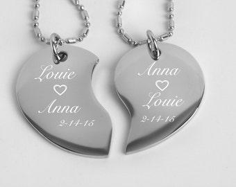 Personalized Silver Split Broken Tear Drop Heart Necklace Custom \Engraved Free