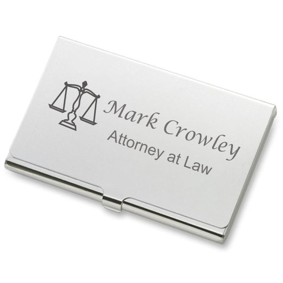 Personalized Silver Business Credit Card Holder by
