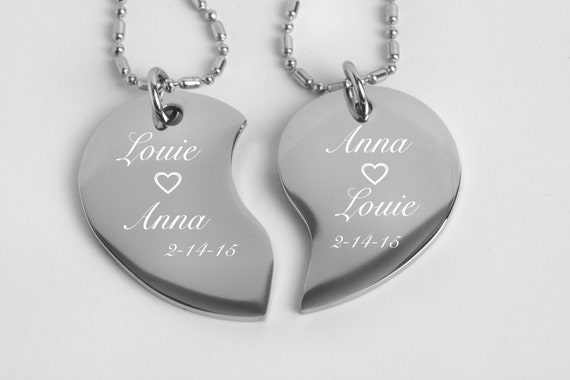 Personalized broken heart couples jewelry silver split like this item aloadofball Choice Image
