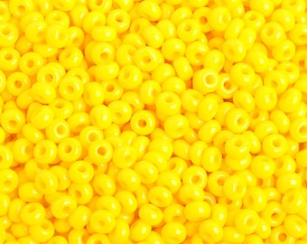 34 Grams Sz 6, 8 or 10 YELLOW Opaque Czech Seed Beads, Macrame beads, Kumihimo beads, Bracelet Beads, Embroidery and beading supplies