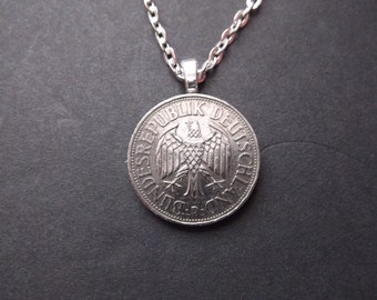 Germany Deutschland Mark Coin Necklace -1960 Coin Pendant with Bail and Chain