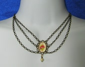 Necklace with Victorian Style Pendant and Layered Chains