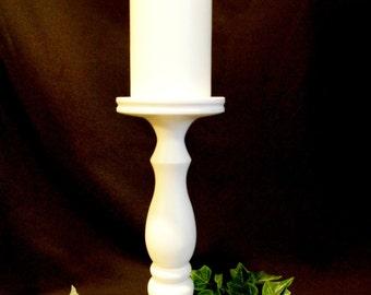 Satin White Single 10-inch Pillar Candle Holder