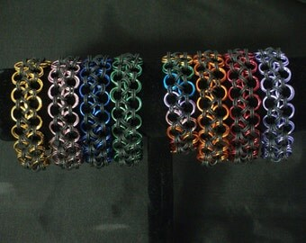 Stretchy Maru Cuffs, Japanese Chainmaille, Handmade Bracelet