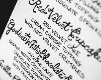 Custom Handwritten Wedding Calligraphy Menu - Signs, Table Tents, Place Cards, Dessert or Bar Menus
