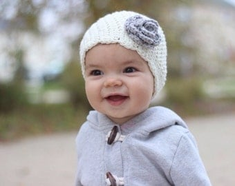 White and Gray Baby Girl Hat, Crochet Hat with Flower, Ivory with Coral Flower, Coral Baby Hat, COLOR of your CHOICE - Newborn, Up to 12 Mon