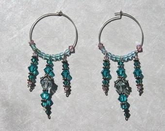 Swarovski Crystal Dangling Hoops