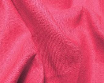 FUCHSIA Linen Fabric By the Yard Italino 3.8oz European Made