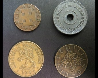 Classic Antique (1916, 1928, 1959 & 1963 Vintage Luxembourg 25c, Austria 2 Grochen / 1 Schilling and Finland 50 Pennia Coin Collection) NICE
