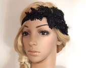 Gatsby Headpiece, Gatsby Headband, gatsby hair clip, flapper headpiece, Flapper Hair Clip, Bridal Headpiece, black feather fascinator HB144