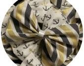 Navy & Gold Stripe Basic Bow Handmade by Charlie Heartbreaker