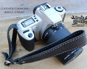 Leather Camera Wrist Strap, Black, Made In USA, Custom, DSLR, Photography, Digital Camera, Gift, Hand Stitched, Handmade, Leica, Comfort