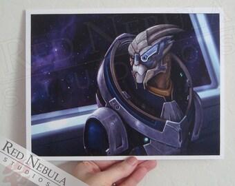 8.5x11 Garrus Vakarian Illustration, Mass Effect Art Print
